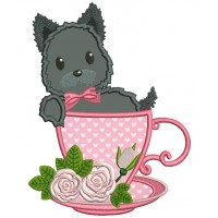 Cute Little Dog Sitting In a Beautiful Cup Applique Machine Embroidery Design Digitized Pattern